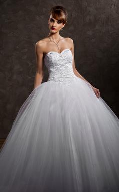 De baile Coração Cauda longa Cetim Vestido de noiva com Renda Bordado Lantejoulas (002008181)