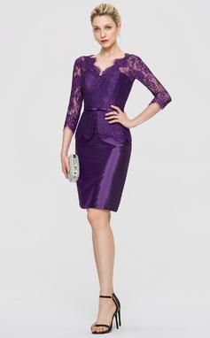 Платье-чехол V-образный Длина до колен Тафта Коктейльные Платье (016189344)