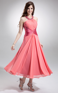 A-Line/Princess Scoop Neck Tea-Length Chiffon Bridesmaid Dress With Ruffle Beading Sequins (007032258)
