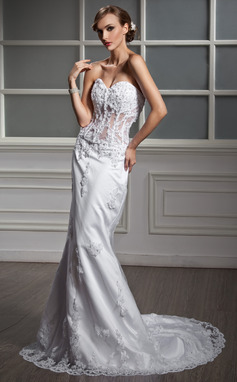 Trumpet/Mermaid Sweetheart Chapel Train Satin Wedding Dress With Lace Beading (002011377)