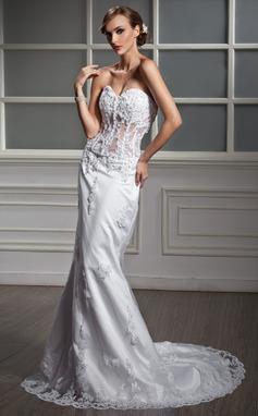 Trompete/Sereia Coração Cauda longa Cetim Vestido de noiva com Renda Bordado (002011377)