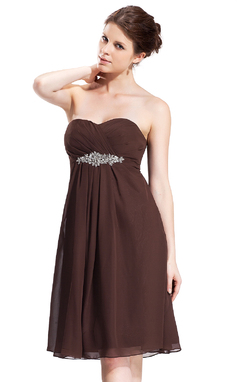 Empire Sweetheart Knee-Length Chiffon Bridesmaid Dress With Ruffle Beading (007026272)