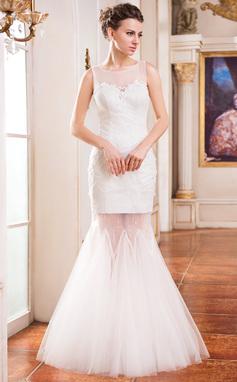 Trompete/Sereia Decote redondo Longos Tule Renda Vestido de noiva com Bordado Lantejoulas (002050136)