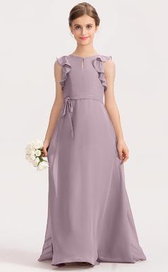 A-Linie U-Ausschnitt Bodenlang Chiffon Kleid für junge Brautjungfern mit Schleife(n) Gestufte Rüschen (009191702)