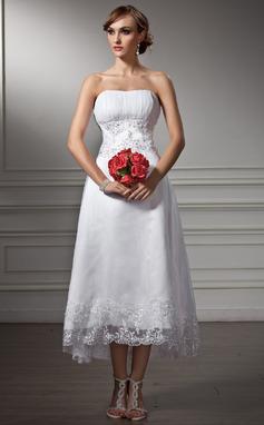 Forme Princesse Bustier en coeur Traîne asymétrique Satiné Organza Robe de mariée avec Dentelle Emperler Sequins (002008177)