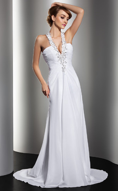 A-Line/Princess Halter Sweep Train Chiffon Wedding Dress With Ruffle Beading Appliques Lace Sequins (002012134)