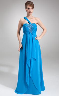 Empire One-Shoulder Floor-Length Chiffon Prom Dress With Beading Cascading Ruffles (018016848)