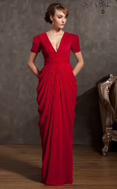 Sheath/Column V-neck Floor-Length Chiffon Mother of the Bride Dress With Ruffle (008014885)