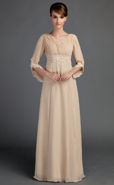 Empire V-neck Floor-Length Chiffon Mother of the Bride Dress With Ruffle Lace Beading (008015725)