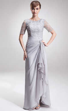 A-Line/Princess Scoop Neck Asymmetrical Chiffon Lace Mother of the Bride Dress With Ruffle (008005621)