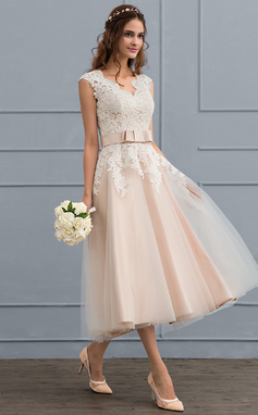 A-Line/Princess V-neck Tea-Length Tulle Wedding Dress With Bow(s) (002117099)