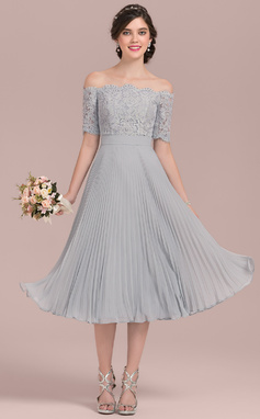 A-Line/Princess Off-the-Shoulder Tea-Length Chiffon Lace Bridesmaid Dress With Bow(s) Pleated (007126435)