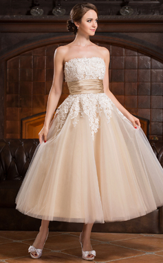 Gala-Japon Strapless Thee lengte Tule Bruidsjurk met Kralen Applicaties Kant pailletten (002056491)