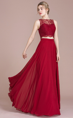 A-Line/Princess Scoop Neck Floor-Length Chiffon Lace Bridesmaid Dress (007104728)