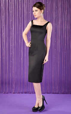 Sheath/Column Square Neckline Knee-Length Satin Mother of the Bride Dress (008006311)