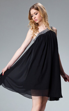A-linjeformat One-Shoulder Kort/Mini Chiffong Festklänning med Rufsar Pärlbrodering (020003242)