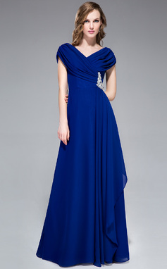 A-Line/Princess V-neck Floor-Length Chiffon Evening Dress With Ruffle Beading (008040842)