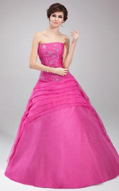 Платье для Балла Без лямок Длина до пола Органза Пышное платье с Рябь развальцовка Цветы блестки (021002899)