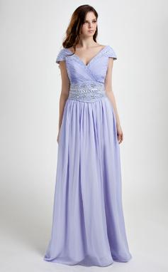 A-formet/Prinsesse V-hals Gulvlengde Chiffong Ballkjole med Frynse Perlebesydd Paljetter (008015801)