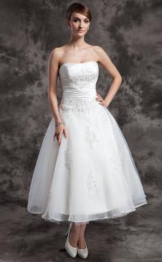 Forme Princesse Bustier en coeur Longueur mollet Organza Robe de mariée avec Plissé Emperler Motifs appliqués Dentelle (002014997)