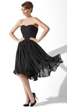Forme Princesse Bustier en coeur Longueur genou Mousseline Petite robe noir avec Plissé (043004243)