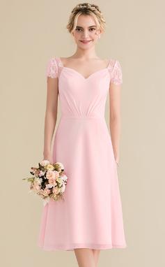 A-Line/Princess Sweetheart Knee-Length Chiffon Lace Bridesmaid Dress With Ruffle (007144742)