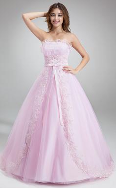 Duchesse-Linie Wellenkante Kapelle-schleppe Tüll Quinceañera Kleid (Kleid für die Geburtstagsfeier) mit Rüschen Perlen verziert Applikationen Spitze (021020618)