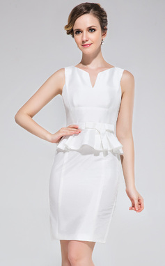 Sheath/Column Scoop Neck Short/Mini Taffeta Cocktail Dress With Bow(s) (017042388)