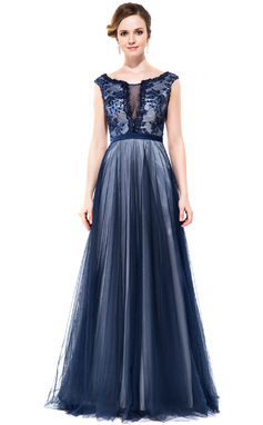 A-Line/Princess Scoop Neck Floor-Length Tulle Charmeuse Prom Dress With Lace Beading Sequins (018050388)