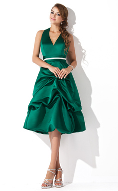 A-Line/Princess Halter Knee-Length Satin Bridesmaid Dress With Ruffle Sash (007001800)