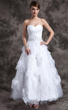 Forme Princesse Bustier en coeur Longueur cheville Organza Tulle Robe de mariée avec Emperler Motifs appliqués Dentelle Fleur(s) (002014984)