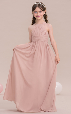 A-Line/Princess Scoop Neck Floor-Length Chiffon Junior Bridesmaid Dress With Ruffle (009119578)