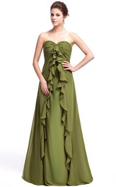 С завышенной талией В виде сердца Длина до пола шифон Платье Подружки Невесты с Ниспадающие оборки (007025344)