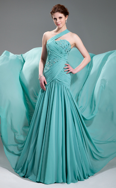 Vestidos princesa/ Formato A Um ombro Cauda de sereia De chiffon Vestido de festa com Pregueado Bordado Apliques de Renda (017019733)