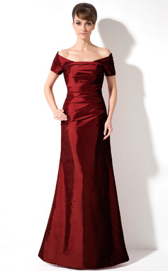 Trumpet/Mermaid Off-the-Shoulder Floor-Length Taffeta Holiday Dress With Ruffle (020025961)
