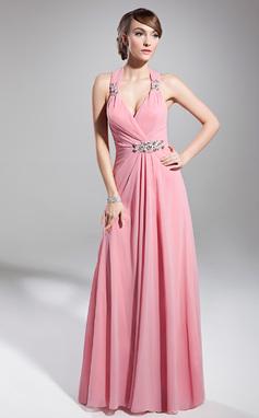 A-Linie/Princess-Linie Träger Bodenlang Chiffon Festliche Kleid mit Rüschen Perlen verziert (020014711)
