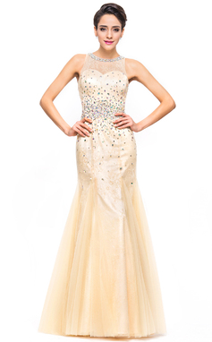 Trumpet/Mermaid Scoop Neck Floor-Length Tulle Charmeuse Lace Prom Dress With Beading Sequins (018051170)