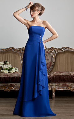 A-Line/Princess Strapless Floor-Length Chiffon Evening Dress With Beading Cascading Ruffles (017013808)