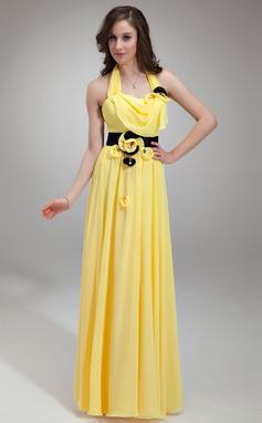 A-Line/Princess Halter Floor-Length Chiffon Prom Dress With Ruffle Sash Beading (018135258)