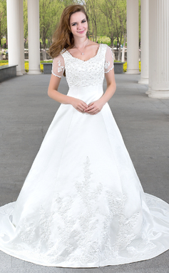 A-Line/Princess V-neck Chapel Train Satin Wedding Dress With Lace Beading (002012103)