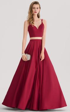 Ball-Gown Sweetheart Floor-Length Satin Prom Dress (018138378)