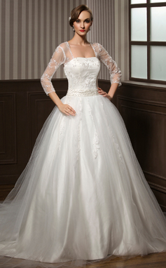 Ball-Gown Sweetheart Chapel Train Tulle Wedding Dress With Lace Beading Sequins (002008173)