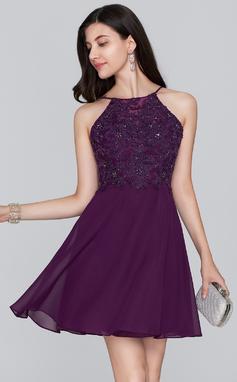 Vestidos princesa/ Formato A Decote redondo Curto/Mini Tecido de seda Vestido de boas vindas com Beading lantejoulas (022124862)