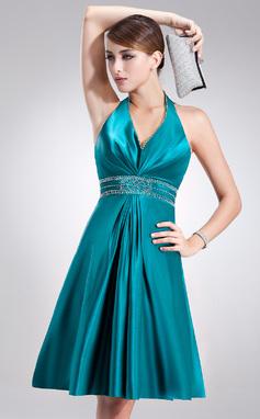 Vestidos princesa/ Formato A Cabresto Coquetel Charmeuse Vestido de Férias com Bordado (020020920)