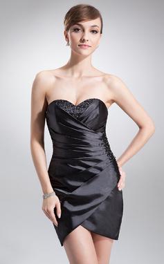 Платье-чехол В виде сердца Мини-платье Шармёз Коктейльные Платье с Рябь Бисер (016016242)