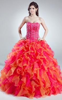 Платье для Балла В виде сердца Длина до пола Органза Пышное платье с Бисер Ниспадающие оборки (021016018)