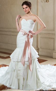 Trumpet/Mermaid Sweetheart Cathedral Train Taffeta Wedding Dress With Sash Bow(s) Cascading Ruffles (002025341)