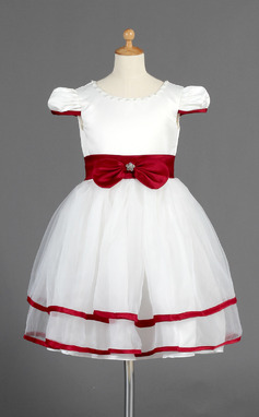 A-Line/Princess Knee-length Flower Girl Dress - Organza/Satin Short Sleeves Scoop Neck With Sash/Beading/Bow(s) (010014662)
