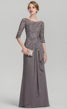 A-Line/Princess Scoop Neck Floor-Length Chiffon Lace Evening Dress With Cascading Ruffles (017144979)