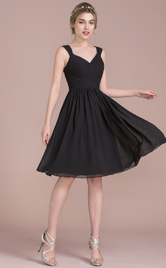 Vestidos princesa/ Formato A Decote V Coquetel Tecido de seda Vestido de boas vindas com Pregueado Curvado (022116411)